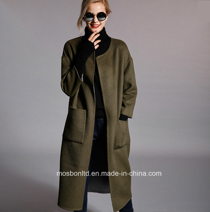 Classic Ladies Winter Cashmere Wool Long Coat, Fashion Woman Winter Coat