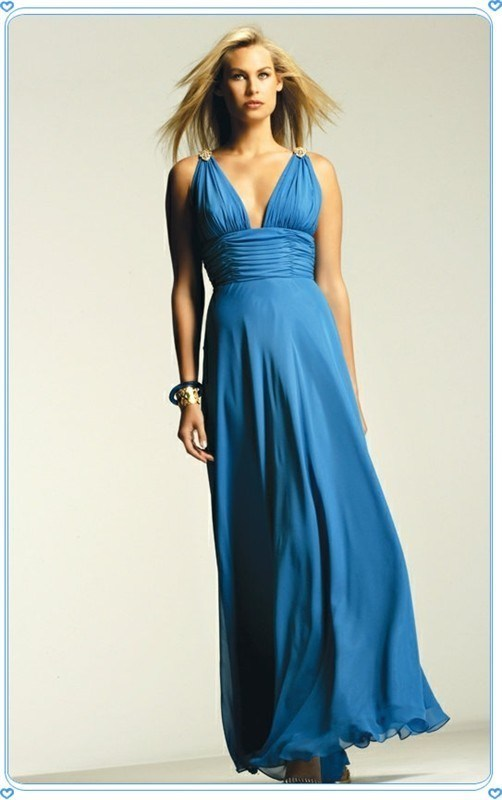 Blue Beading Straps Pleated High Waist Sexy Evening Gown