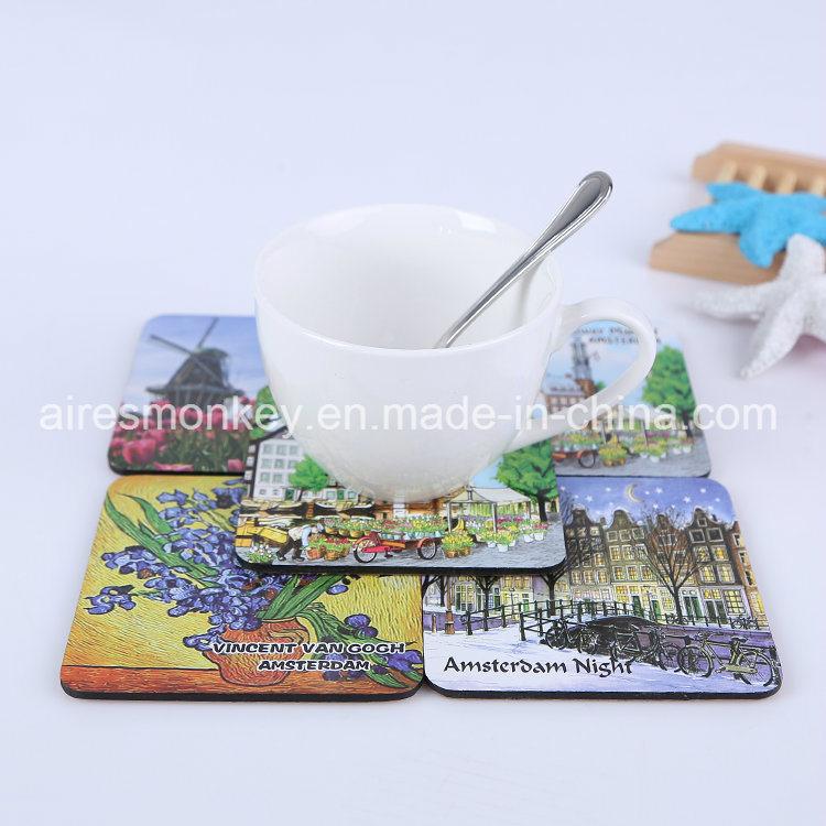 Square MDF Customized Cork Cup Coaster