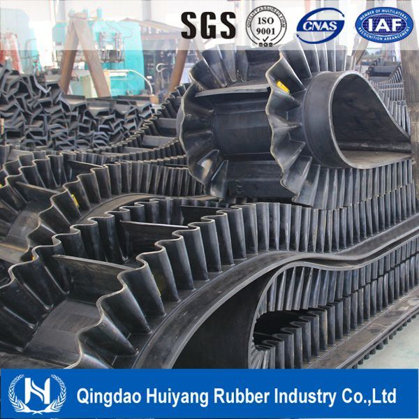 Ep Polyester 0-90 Degree Corrugated Sidewall Cleated Rubber Conveyor/Transmission Belt