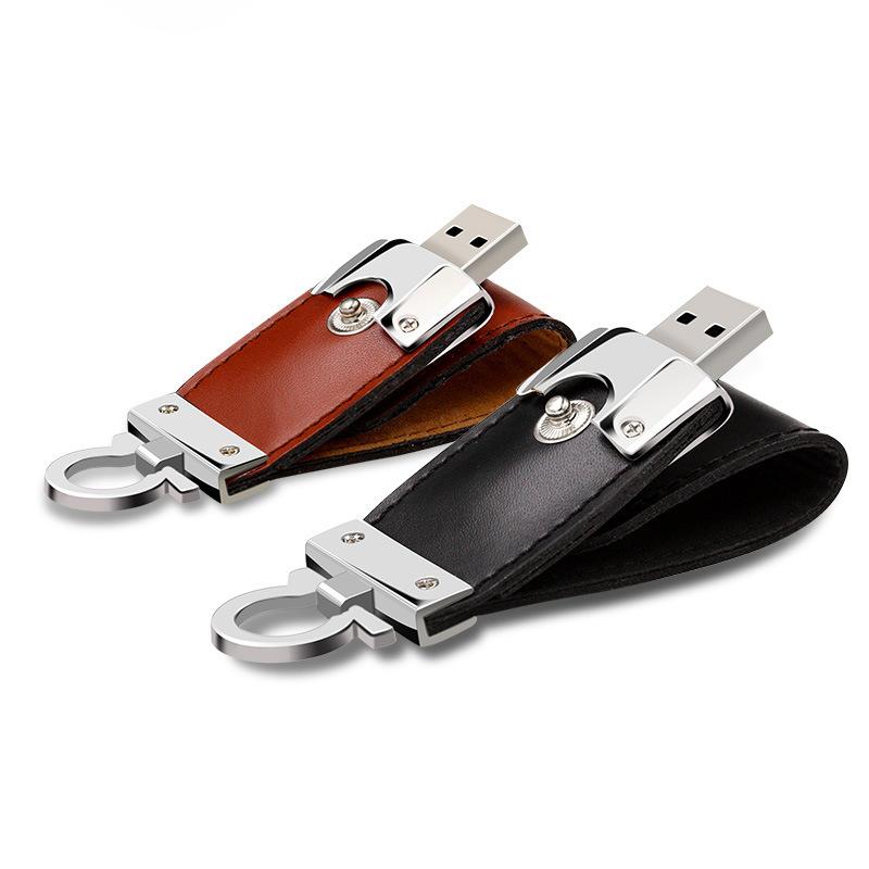 Leather USB Flash Drive 64GB 32g 16g 8g Pen Drive Flash Memory Stick (TF-0249)
