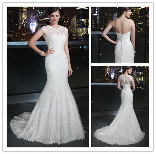 New Arrival Floor Length Scoop Neck Cap Sleeve Detachable Jacket Full Lace Mermaid Wedding Gown (BD10028)