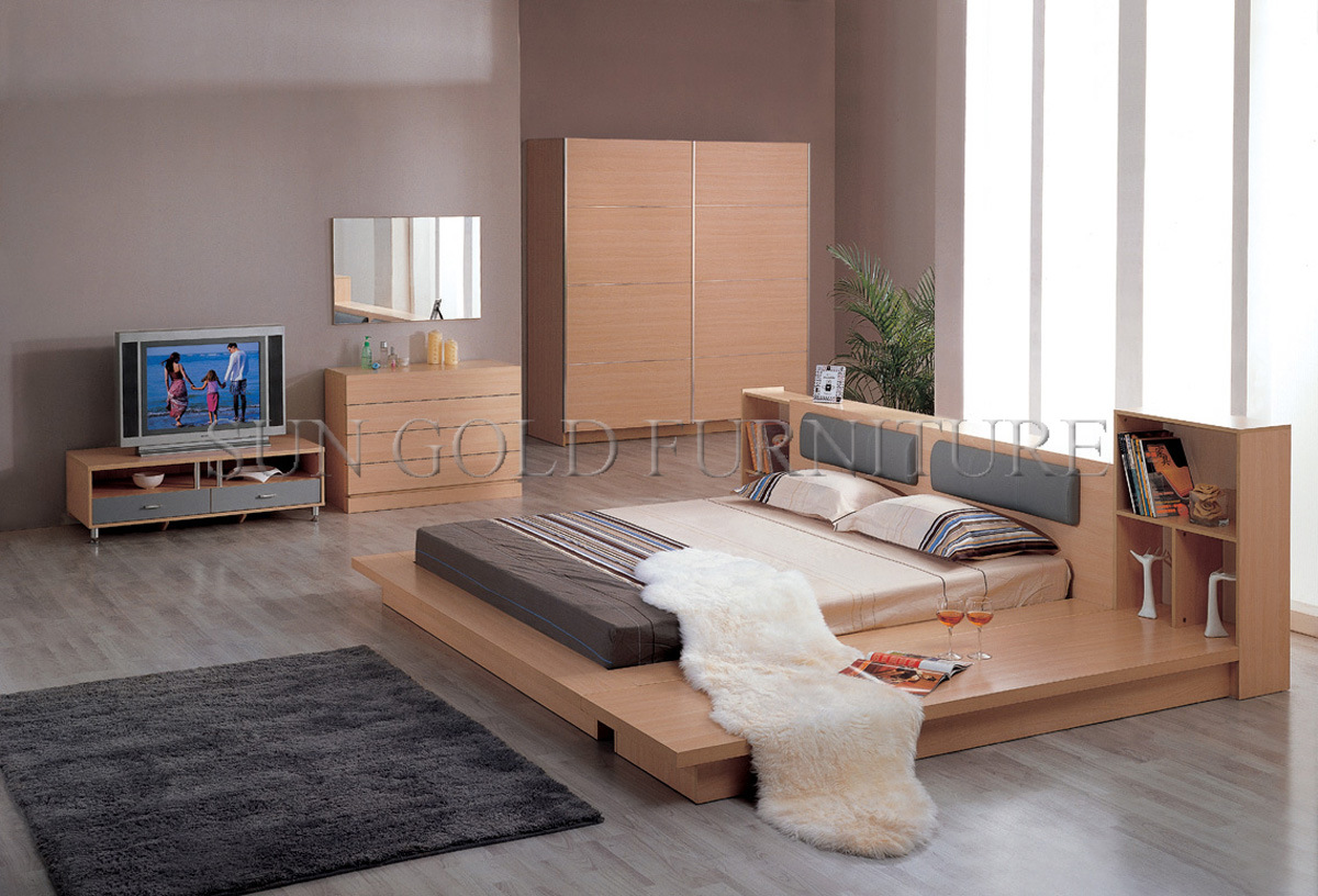 China modern bedroom furniture sets flat bed sz bf095 for Stylish furniture for bedroom