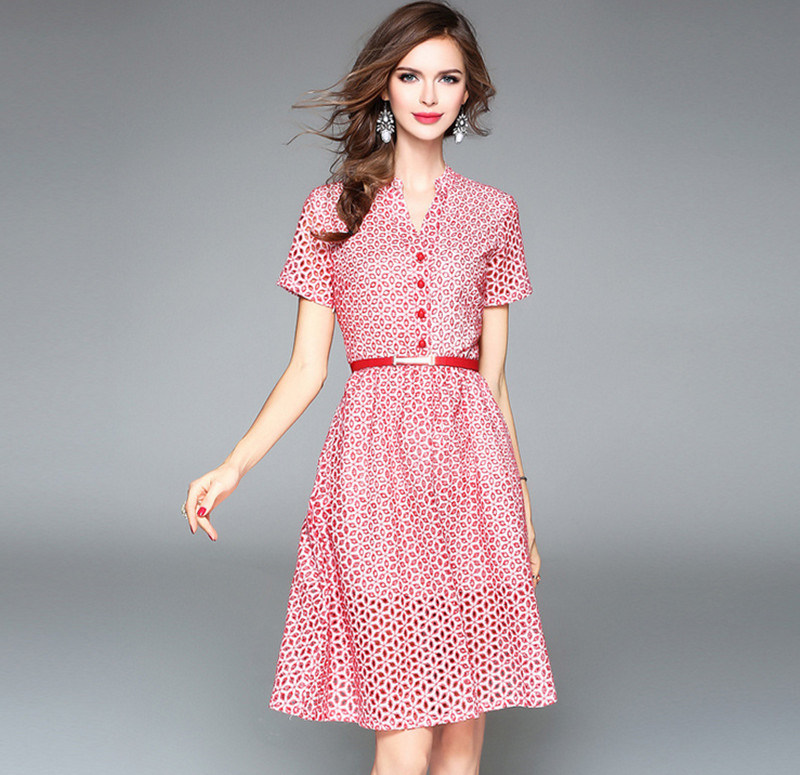 New Design V-Neck Short Sleeves Embroidery Hollow A-Line Slim Long Dress