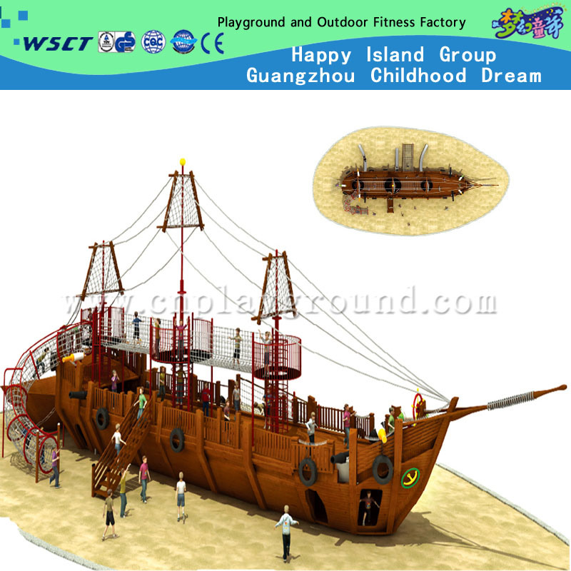 Playground Factory Sales Wooden Outdoor Playground Equipment Wooden Pirate Ship Playground (HD-5401)