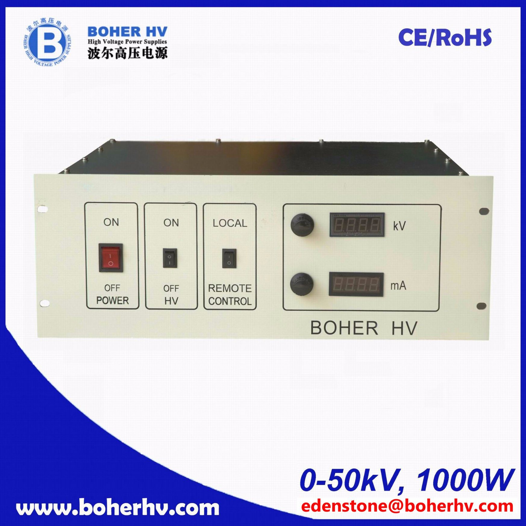 High Voltage power supply 4U 1000W 50kV LAS-230VAC-P1000-50K-4U
