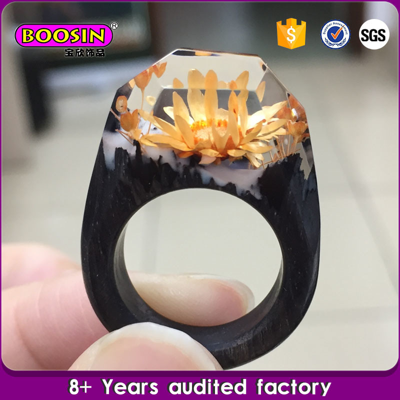 Fashion Unique Handcraft Secret Ebony Wood Ring