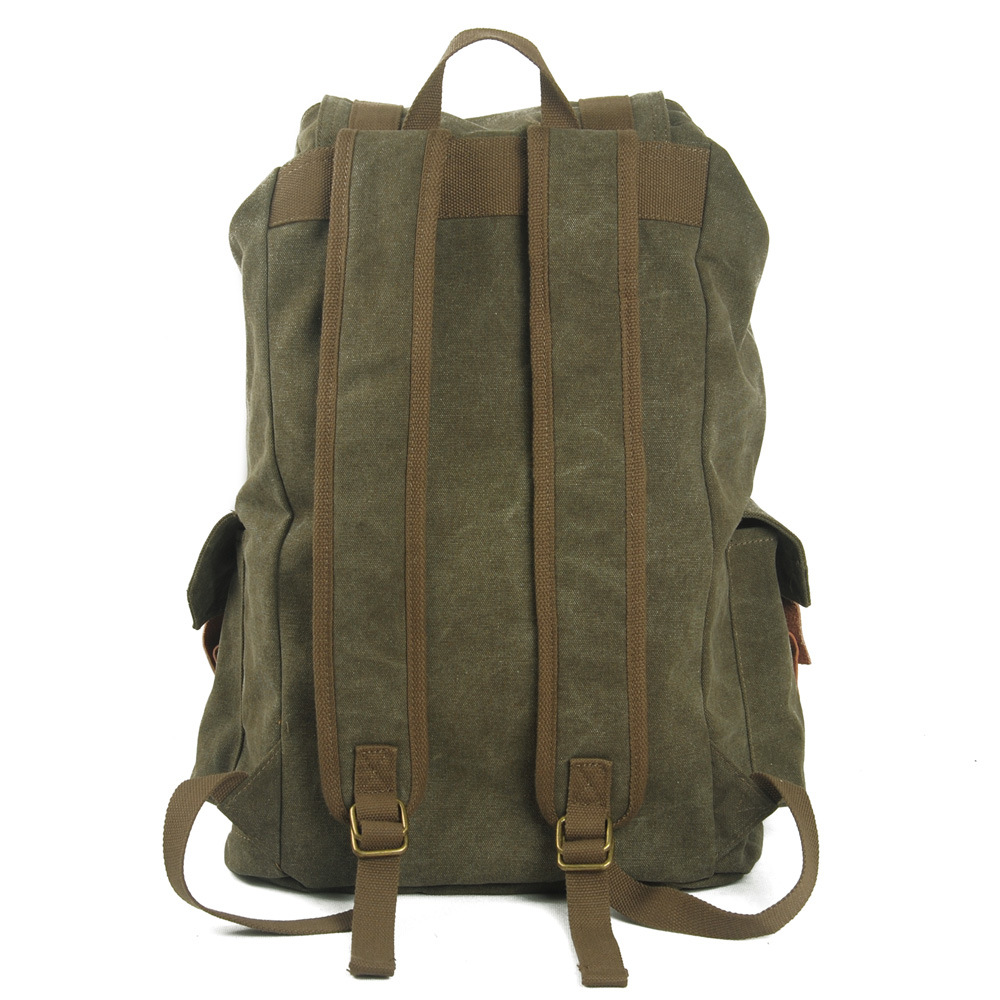 Green Color Washed Canvas School Bag Student Backpack (RS-2080A)