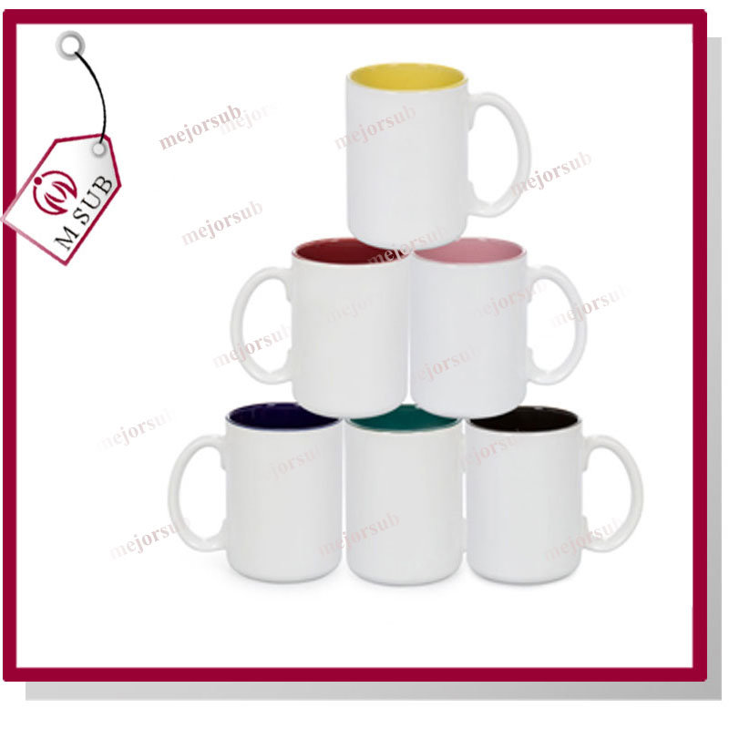 15oz Plain White Sublimation Inner Color Mug with Photo Printing