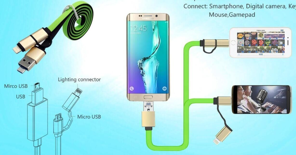 OTG USB Phone to Phone Charging Data Cable