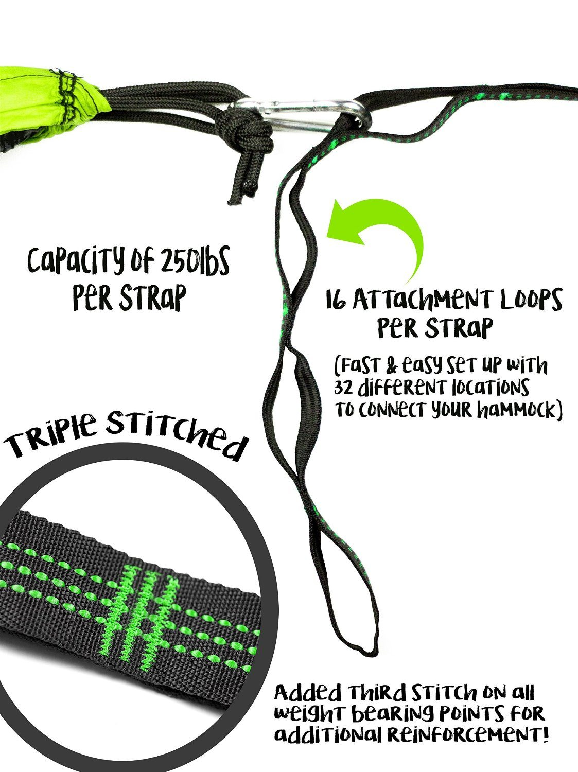 Carries New Designed Safe Hammock Tree Straps with Adjustable Loops