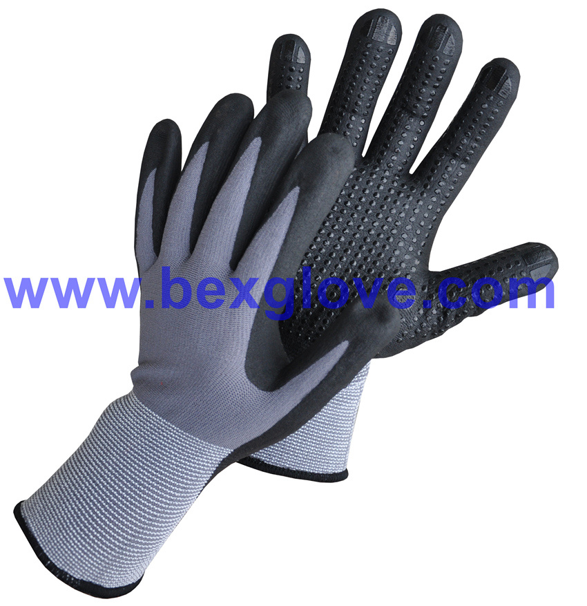 15gauge Nylon/Spandex Liner, Nitrile Coating, Micro-Foam, Dots on Palm Safety Gloves