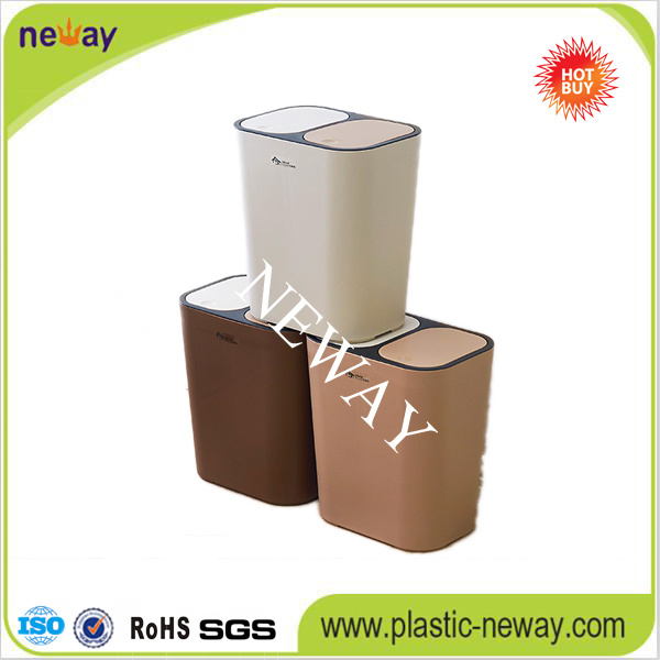 Two Lids New Design Fashion Plastic Waste Bin