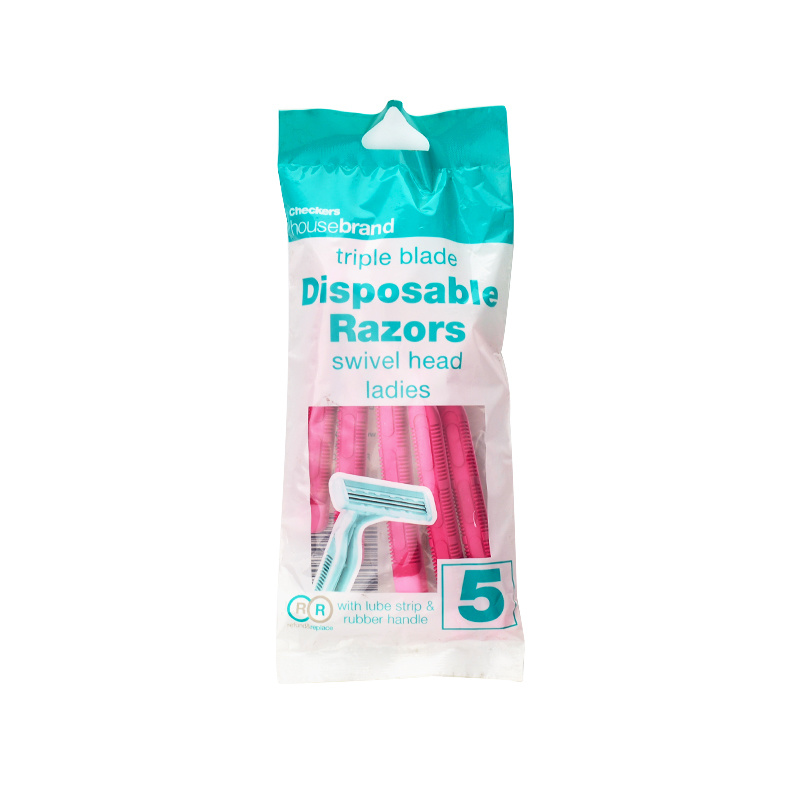 Pink Rubber 2 Blade Lady Shaver Disposable Razor (JG-T800)