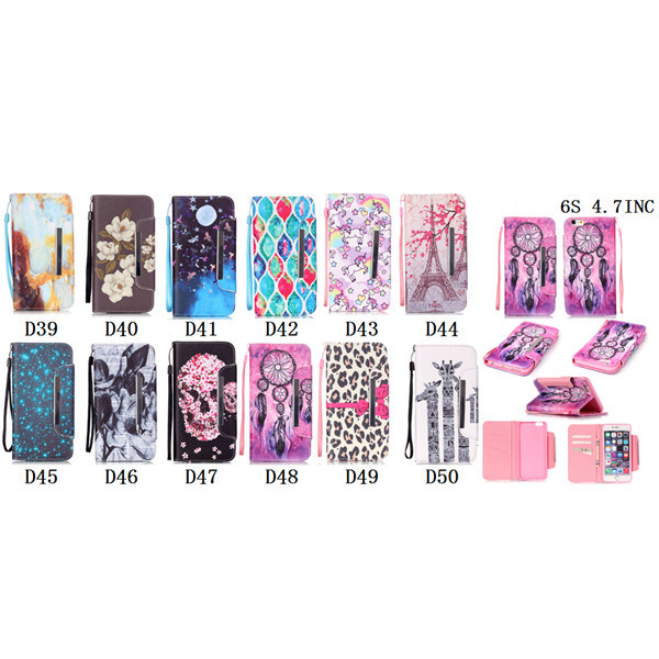 Leather TPU Case Mobile Phone Flip Cover with Stand for iPhone6 6s