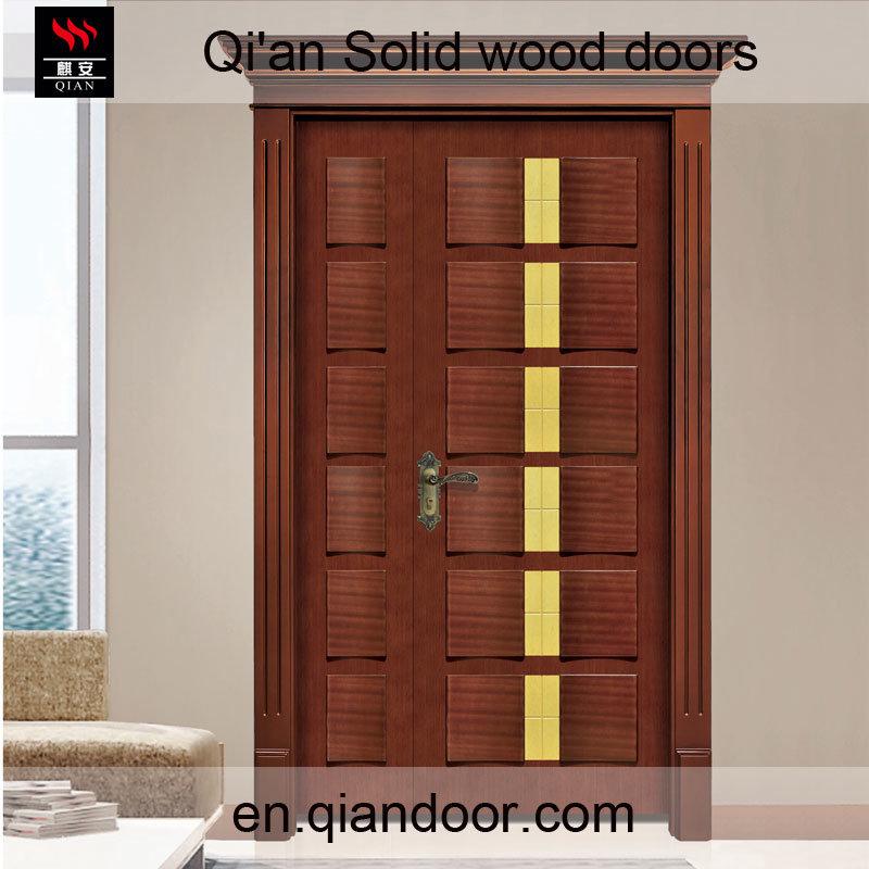 Sapele Solid Wood Main Door Double Door with Lintel