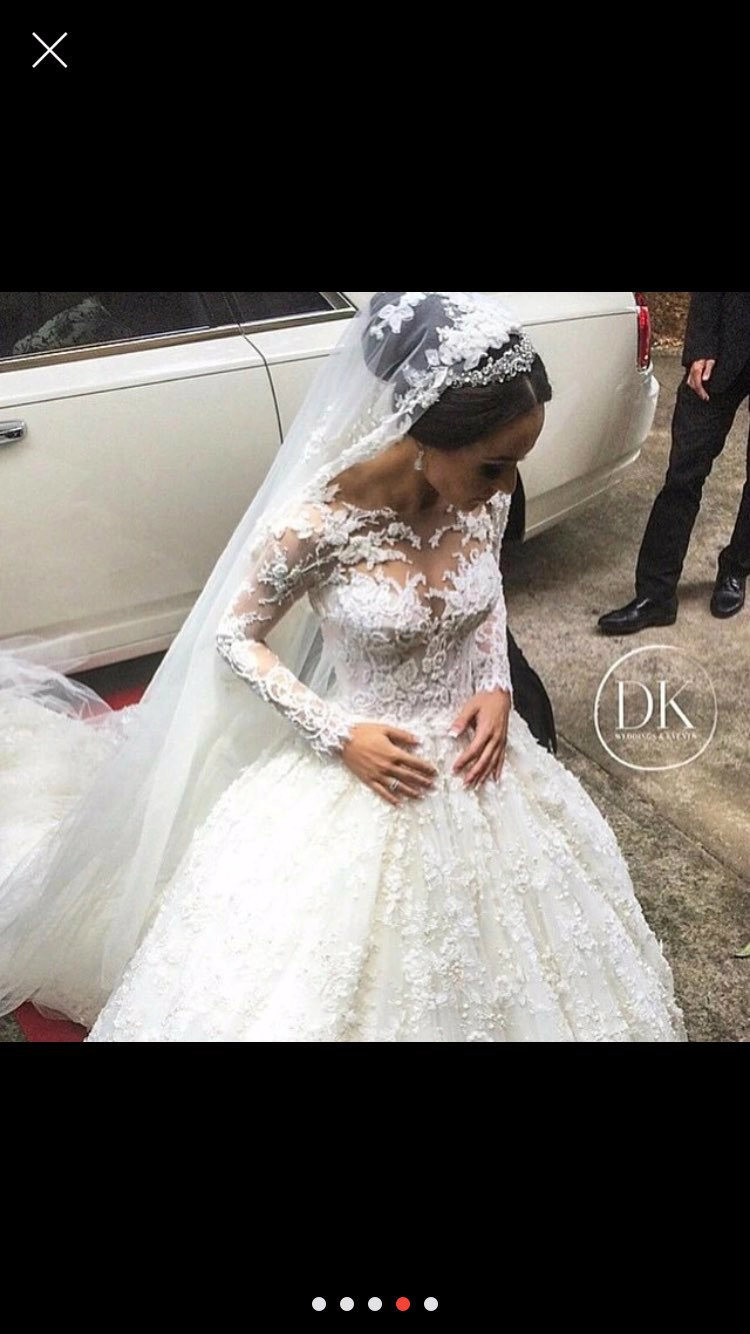 Lace Bridal Ball Gowns Muslim Long Sleeves Arabic Wedding Dresses Y20316