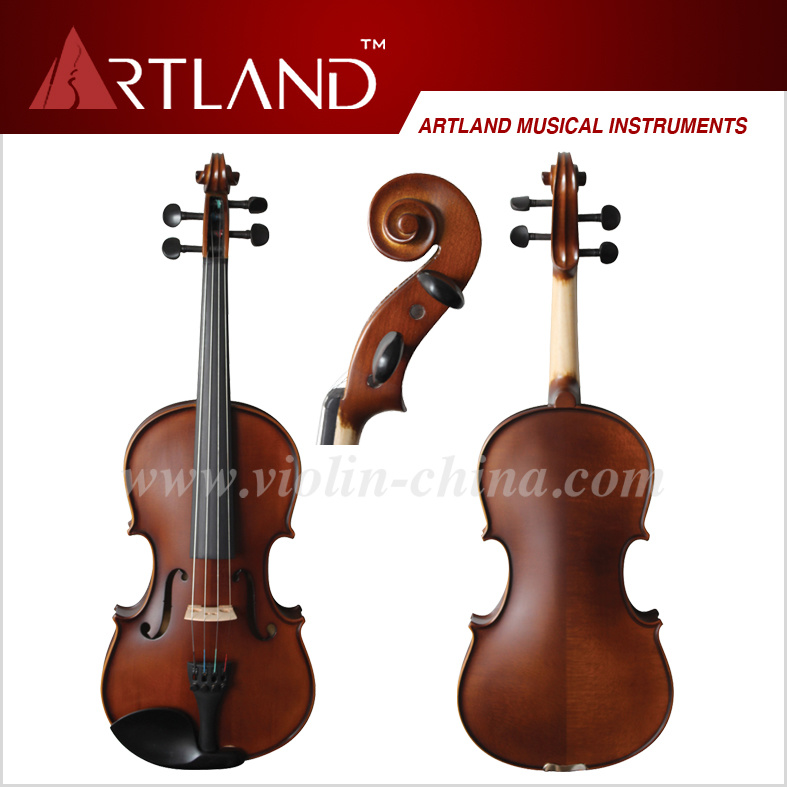 Top Sale Ebony Fitting Solid Wood Student Violin (GV104H)