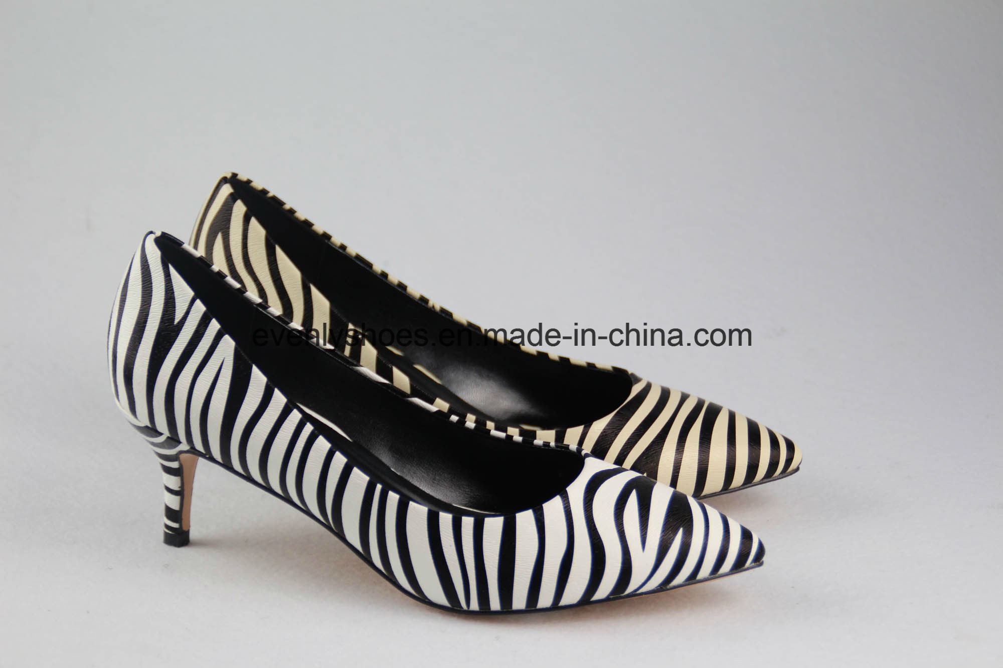 New Arrival Lady Shoes High Heels with Zebra-Stripe