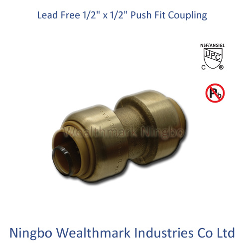 """Lead Free Brass 1/2"""" Equal Coupling Push Fit Fitting"""