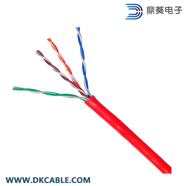 Red Color Cat5e UTP 4pairs 24AWG LAN Cable