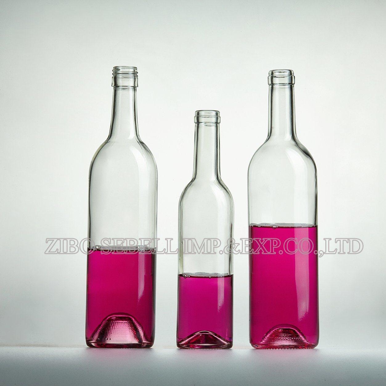 Clear /Transparent /Flint Bordeaux Glass Wine Bottle 750ml, 375ml