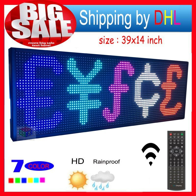 """LED Sign RGB 39""""X14"""" Remote Control Programmable Scrolling Outdoor Message LED Display Open 7 Color Message Board"""