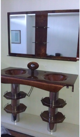 Double Sink Glass Wash Basin with Mirror