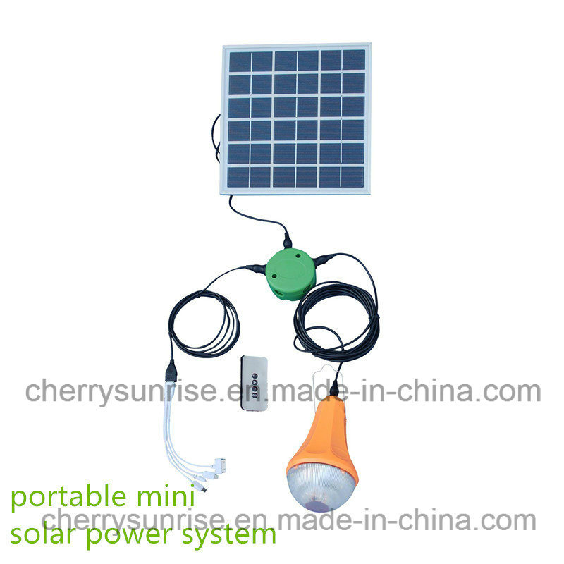 Solar Power System Kit 6W Solar Panel 2800mAh Battery LED Light Charge Phone