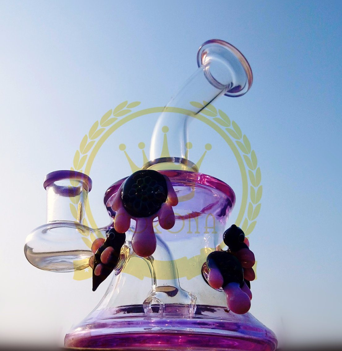 Corona Bubbler Smoking Glass Water Pipe Hookah Hand Blown Heady Tobacco Bubbler Wholesale