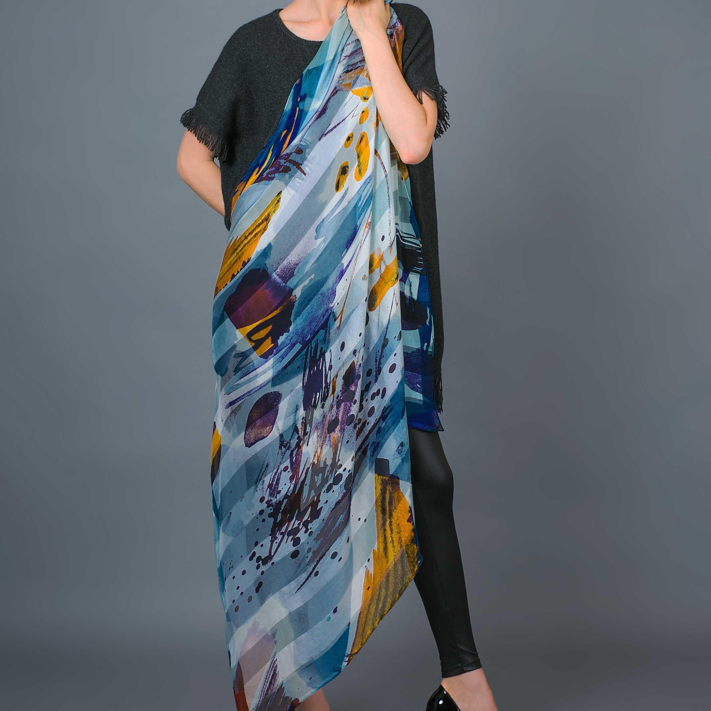 100% Stripe Silk Digital Print Hand Rolled Scarf