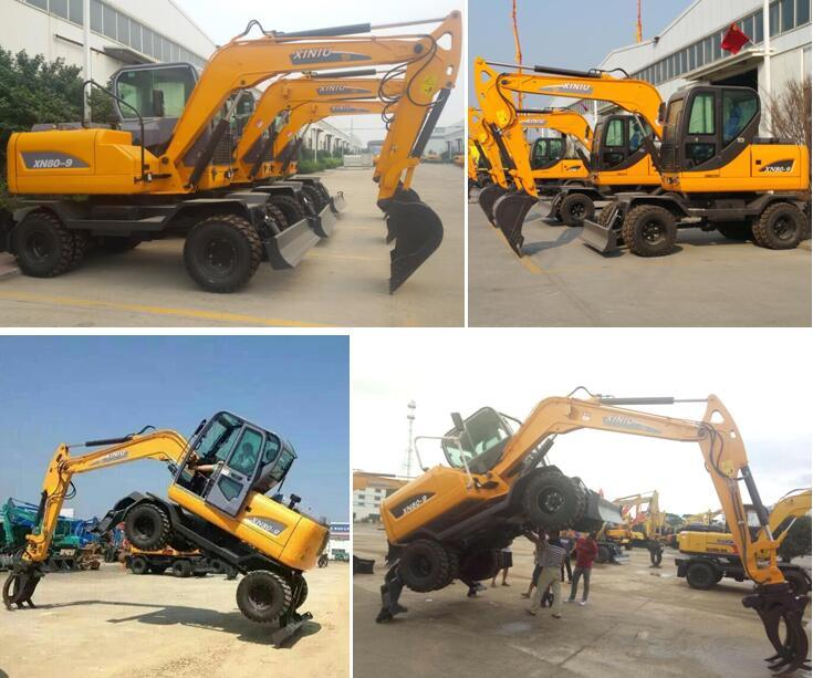 Ce Approved Hydraulic Wheel Excavator Xn80-9 of 6ton 8ton 10ton 12ton 15ton