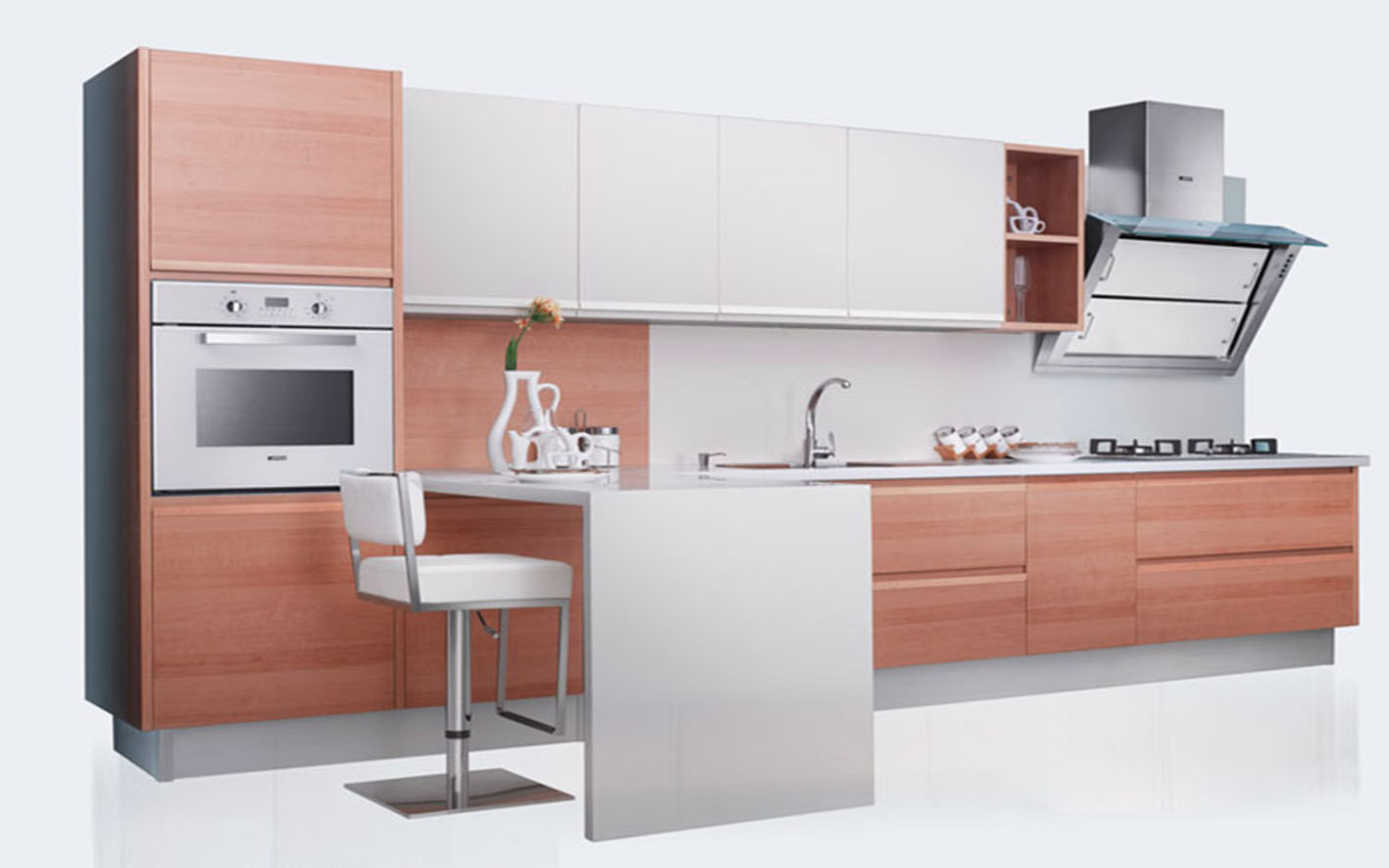 Wood Grain Melamine Finish Laminate MFC Kitchen Furniture (zg-042)