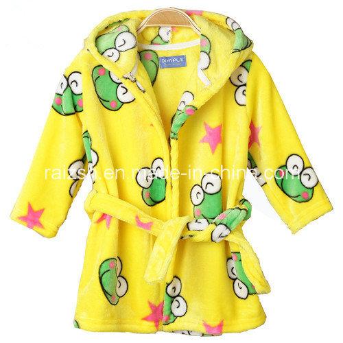 The New Children′s Clothing Infant Hooded Flannel Bathrobe