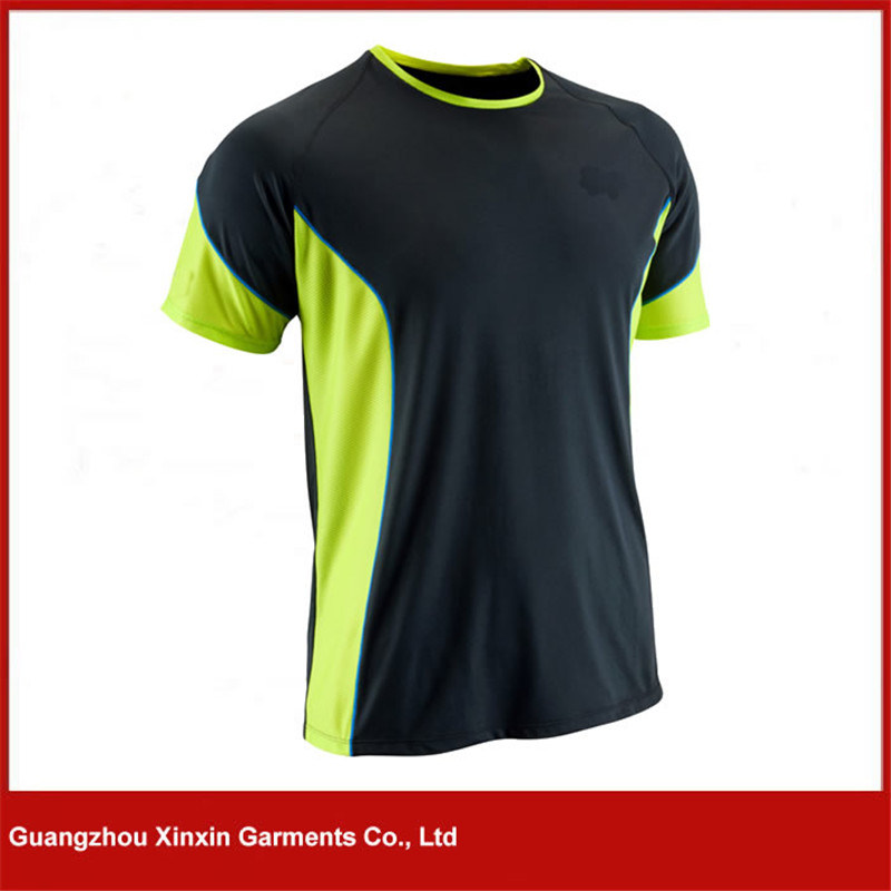 New Design 100% Polyester Plain Sport V Neck T Shirt for Men (R154)