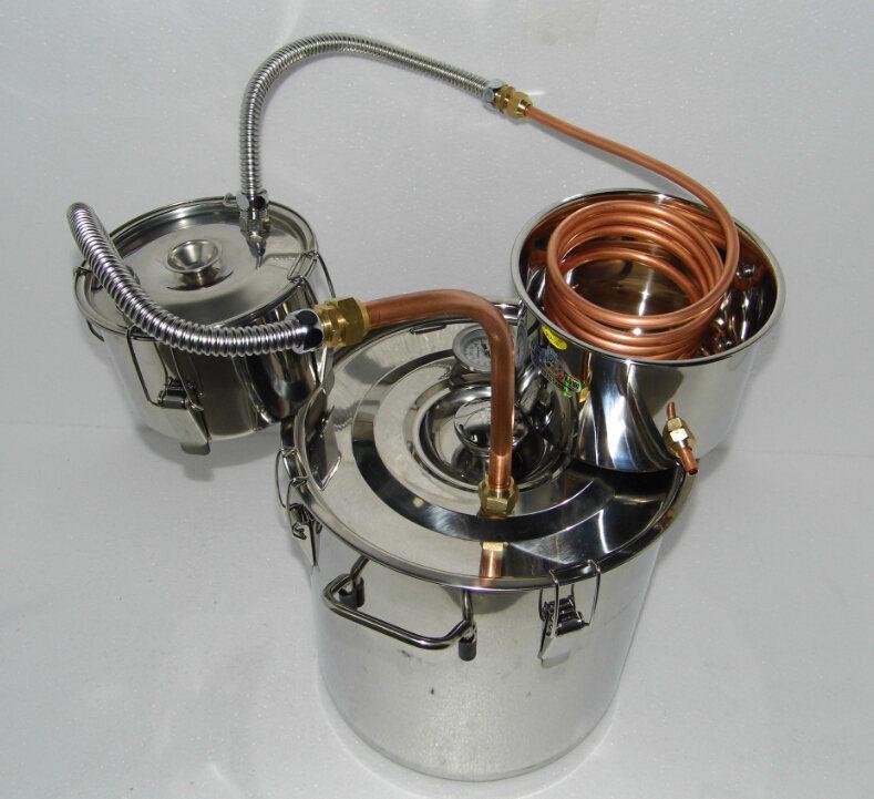 5 Gallon Copper Moonshine Still Ethanol Stainless Water Distiller Boiler with Thumper Keg