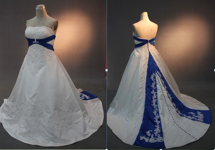 RW09 Royal Blue and White Wedding Dresses China Royal Blue and