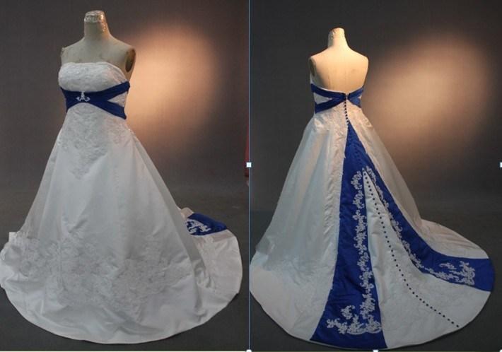 wedding dresses royal blue and white 45