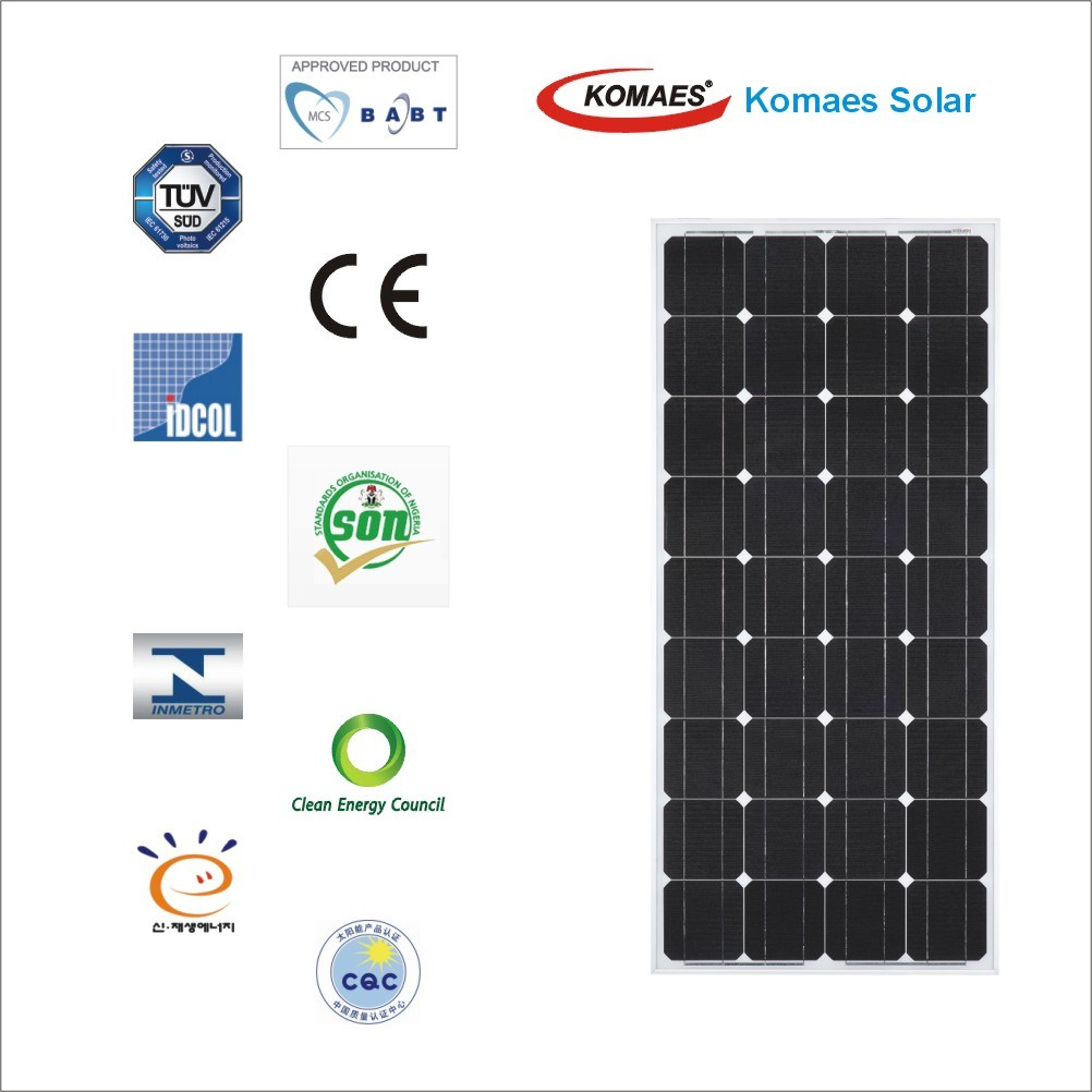 150W Mono Solar System PV Panel Monocrystalline Solar Panel with TUV IEC Mcs CE Cec Inmetro Idcol Soncap Certificate