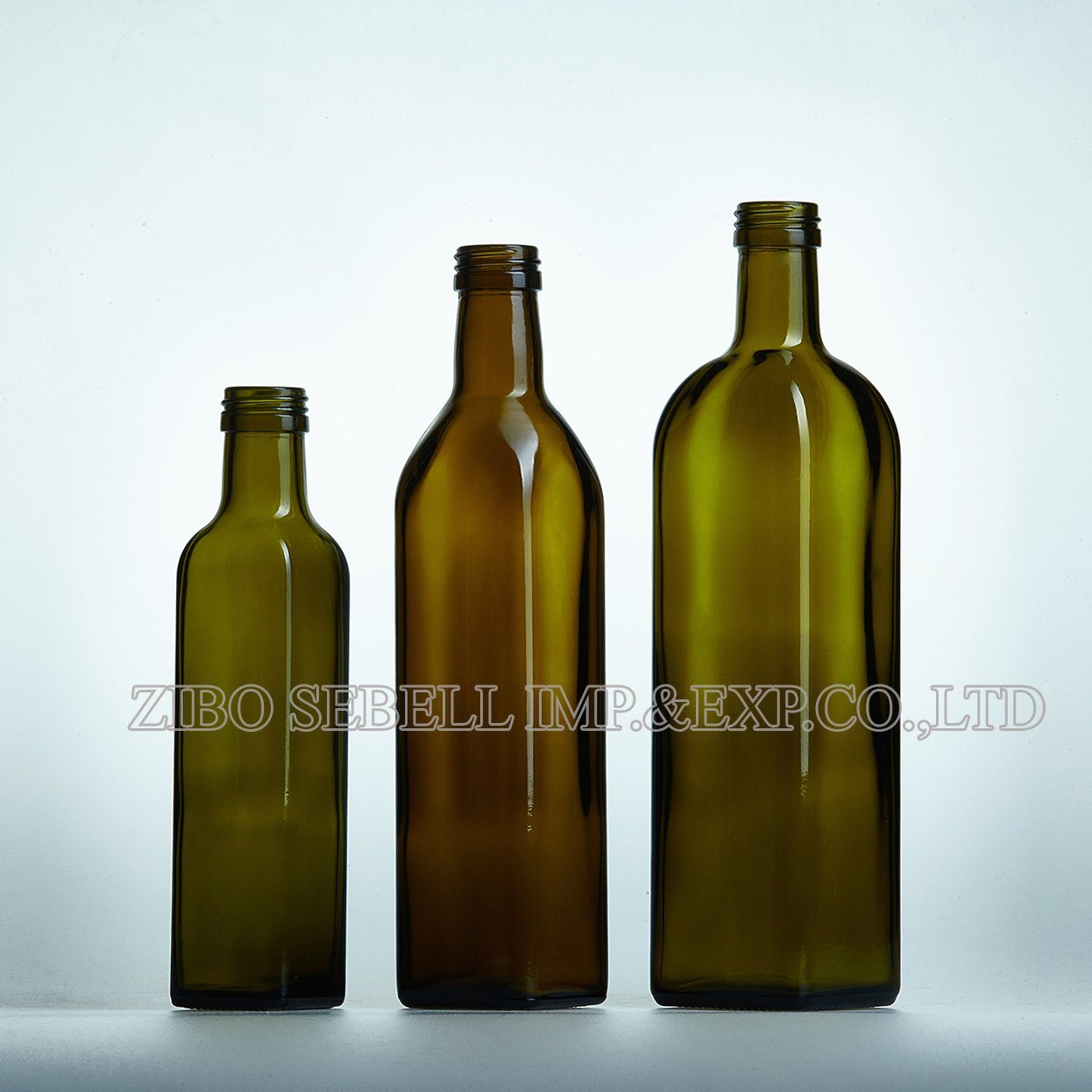 250ml Green Color Square Shape Glass Olive Oil Bottle