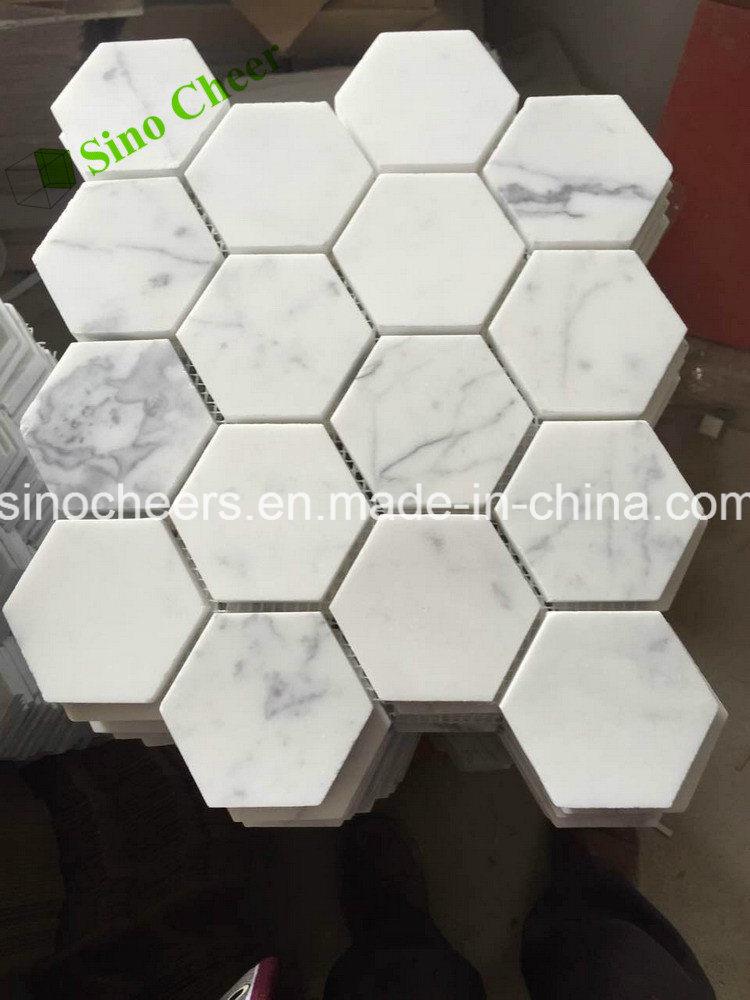 Bianco Carrara C White Stone Marble Fan Shape Tile Floor Wall Mosaic