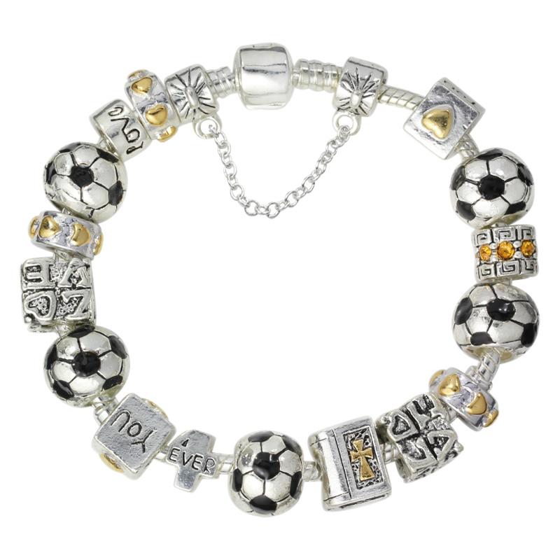 china sports jewellery football soccer charm beaded