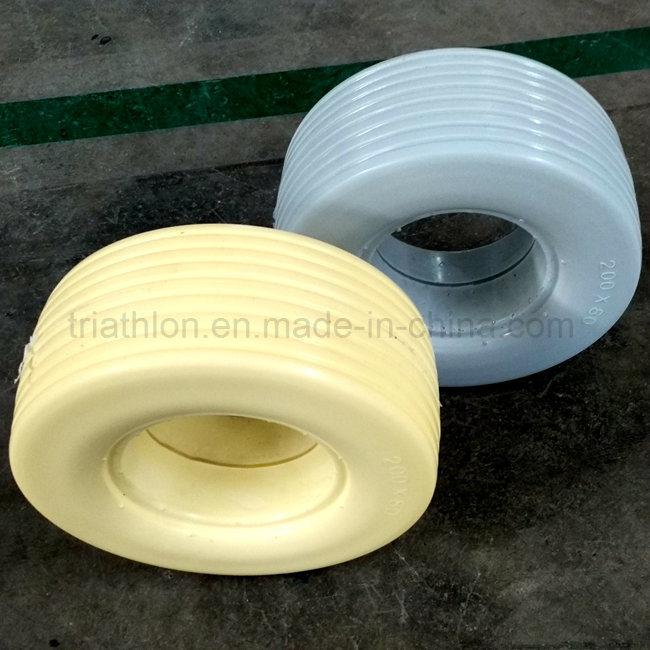 10X1.75 10X2 10X2.125 10X3 10X5.5 Ribbed Flat Free PU Foam Tires with Plastic Spoked Rim