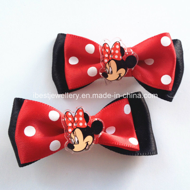 Kids Hair Accessories- Fabric Bow with Plastic Charm Stud Clip /Hair Clips