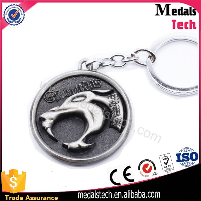Colorful Shiny Nickel Plated Hard Enamel Metal Souvenir Keychain