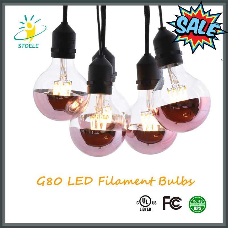 G25/G80 LED Bulb Half Rose-Gold Plating LED Lighting