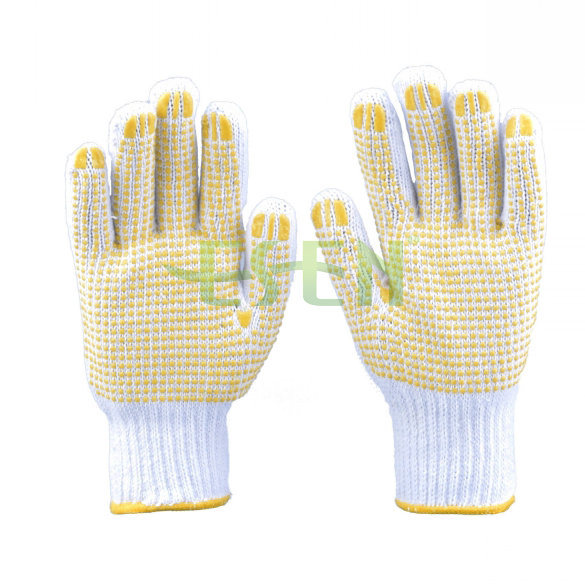 Natural White Cotton Worked Gloves with Blue PVC Yellow Dots