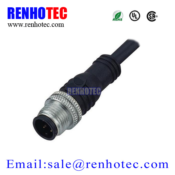 Straight Waterproof Connector 12mm Molded M12 Cable Plug