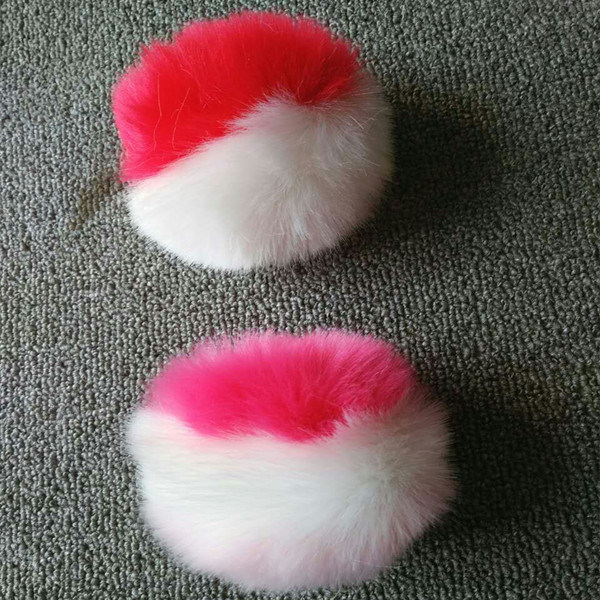 Faux Fur Keychain Fake Fur POM Balls with Glasses