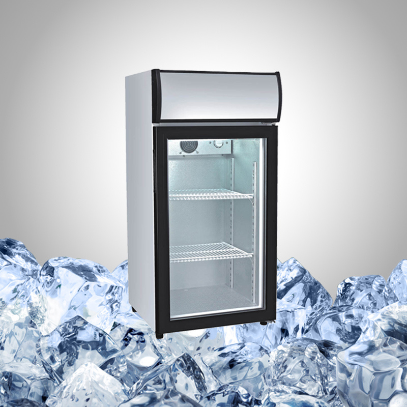 Small Counter Top Fridge with Glass Door for Drink